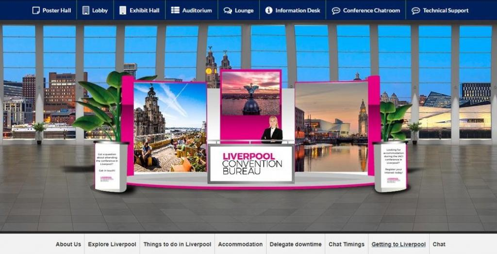 A 'Liverpool Convention Bureau' branded virtual exhibition stand.